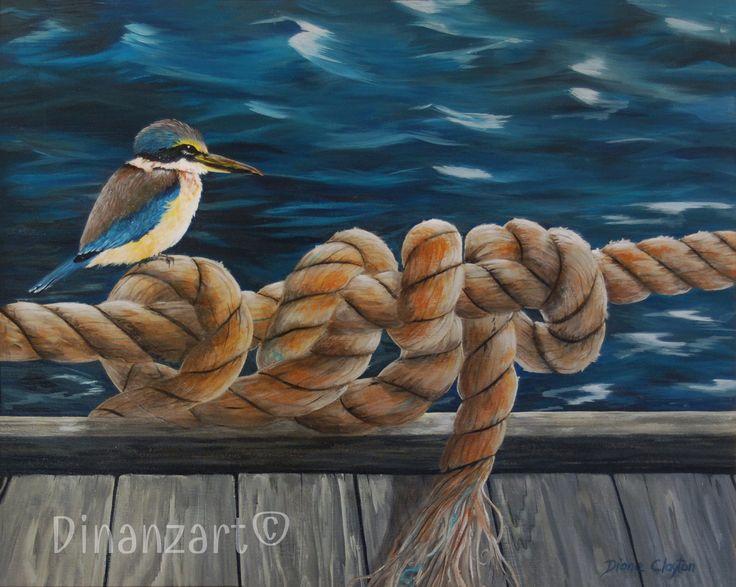 #Kingfisher #birds #water #wharf #art #acrylic #rope