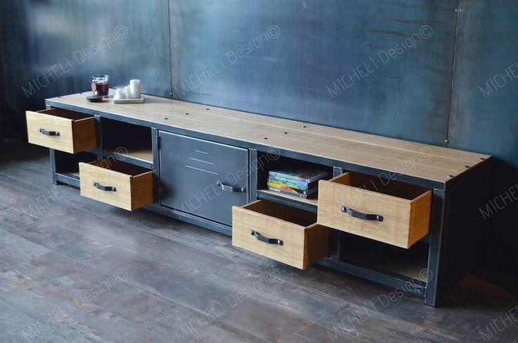 Meuble tv métal bois 200 cm de style industriel et sur mesure