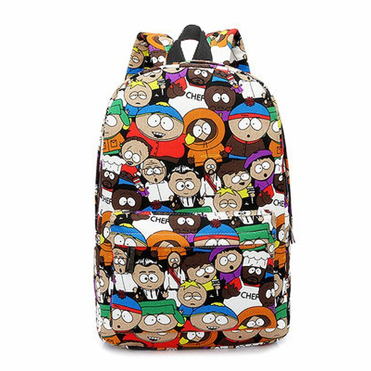 Casual South Park Cute Cartoon Women Canvas Backpacks Graffiti Student Bookbag College High School Daily Backpack For Teenagers #men, #hats, #watches, #belts, #fashion, #style