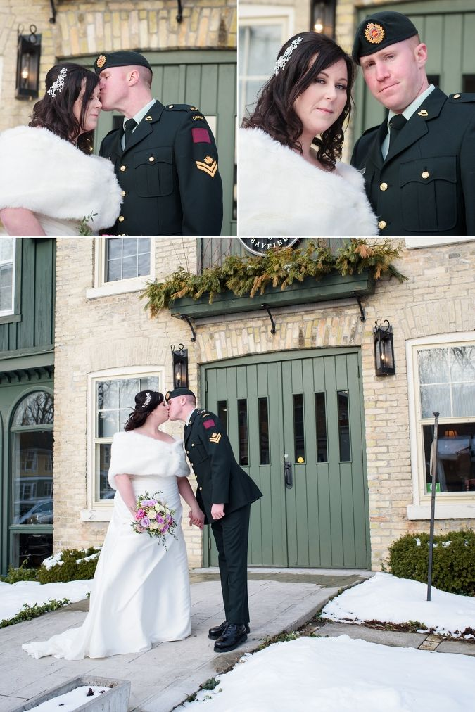 Bride & Groom at the Little Inn, Bayfield, Ontario - Winter Wedding Groom in Canadian Military Uniform