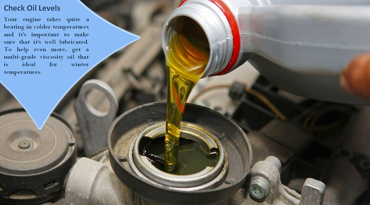 Check/change your oil Cold weather makes the oil in your car run thicker, and some manufacturers recommend using lower viscosity oil for the cold months. Getting a fresh oil change before winter, and changing to thinner viscosity oil, will help your car run more reliably in the cold. #allweathertires