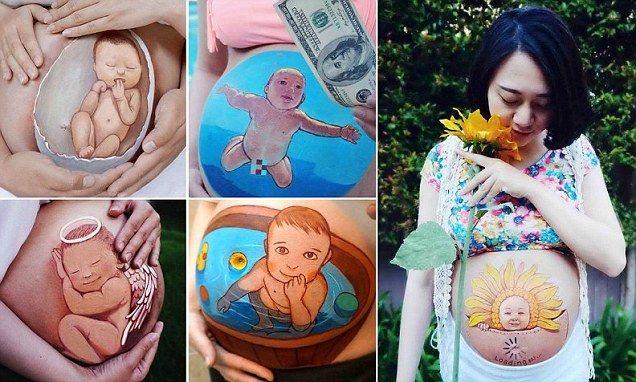 Pintura na barriga de grávida