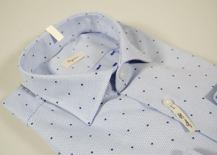 Camicia slim fit Ingram celeste a pois fil coupè collo francese