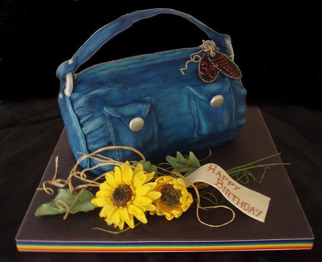 Handbag cake with sunflowers by Torki's Sugar Art, via Flickr