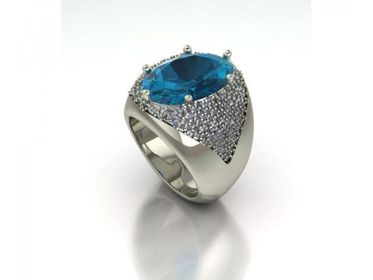 Raffinato e prepotente anello a fascia in oro bianco topazio azzurro carati 9 diamanti carati 3.50 g-vs1