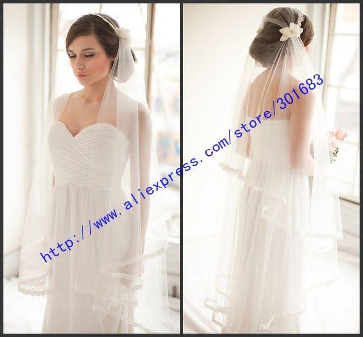 Винтаж белого цвета слоновой кости тюль свадьба фата чай длина два слоя кружево