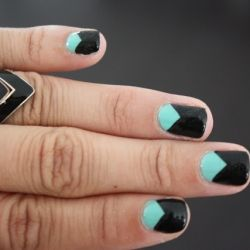 turquoise and black chevron nails