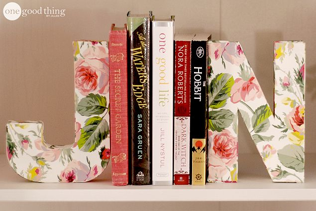 DIY Letter Bookends -- using paper mache letters filled with sand (for weight)