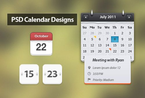66 Beautiful Free Calendar PSD Designs