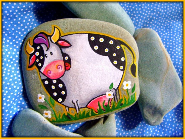 Painted Rock......artful cow