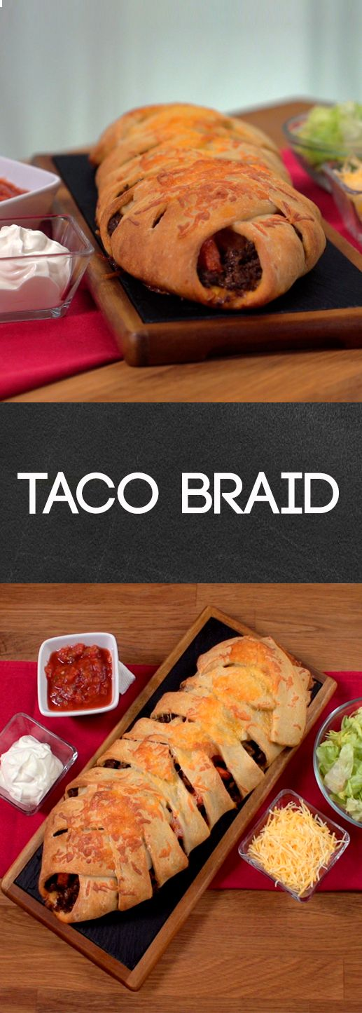 Taco Braid Recipe | Here's a fresh take on the taco. Wrap your favorite Tex-Mex fillings into refrigerated pizza dough, bake and voila! you've got a loaf packed with flavor. Click for the recipe and how to video. #familydinner #homecooking