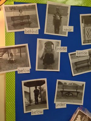 Chalk Talk: A Kindergarten Blog: Positional Words on the Playground - Teacher took pictures of students on playground equipment, then created bulletin board along with positional word labels. Would also make great class book or engaging hallway display!