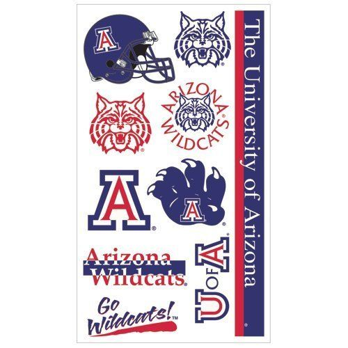 University Of Arizona Tattoos by NCAA. $2.49. Officially licensed temporary tattoos. Each tattoo sheet comes with a collection of ten different temporary tattoos. Tattoos are applied with a wet cloth and easily removed with clear tape. Made in USA.