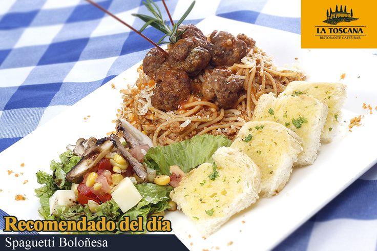 Spaguetti Boloñesa  Spaguetti con bolitas de carne en salsa roja a base de tomate. Acompañado de de pan de la casa y ensalada.