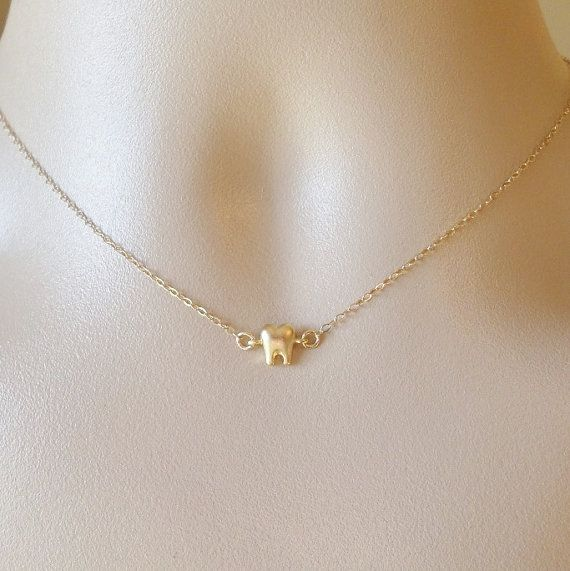 Gold Tooth Necklace - Tiny Gold Tooth Necklace - Dentist Necklace - Gold…