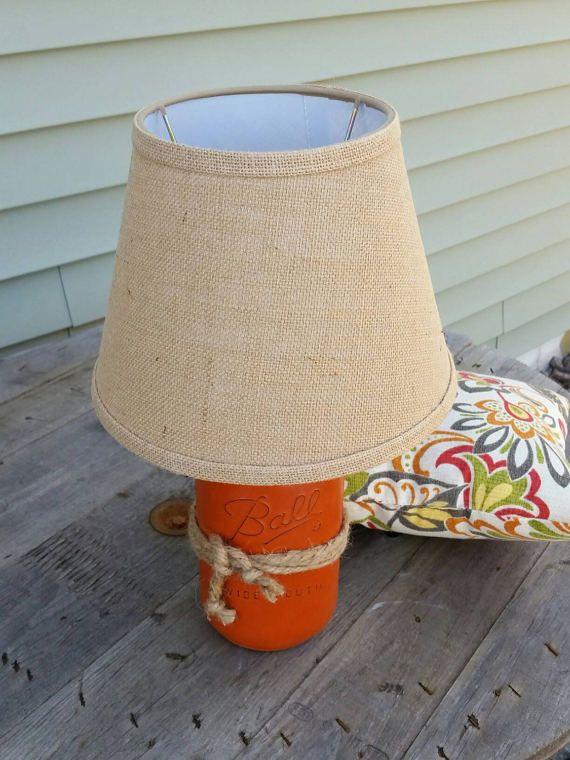 Orange Mason Jar Lamp Rustic Orange Lamp Mason Jar Decor