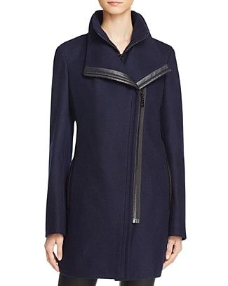 Calvin Klein Faux Leather Trim Asymmetric Coat