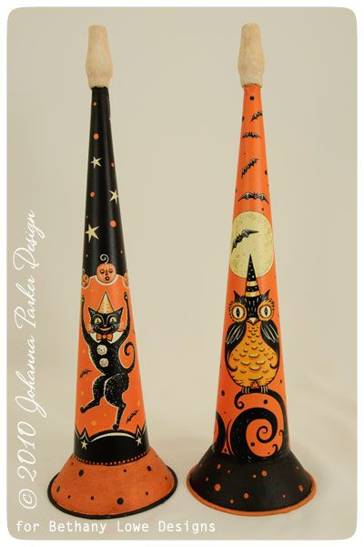Illustrated tin horns for Halloween by Johanna Parker ~ available through Bethany Lowe Designs