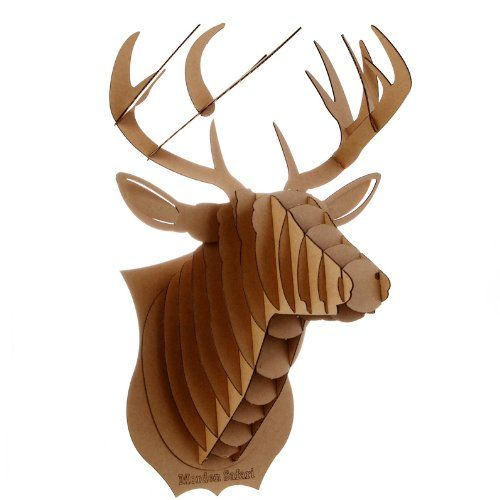Decoration murale kit trophee de chasse puzzle 3d carton for Decoration murale tete de cerf