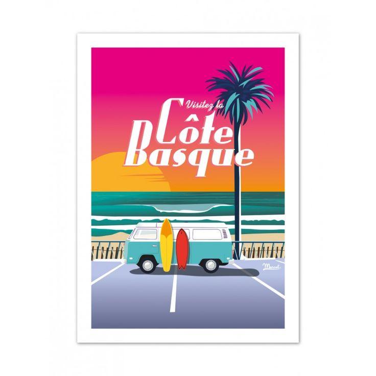 """Retrouvez les affiches Côte Basque """"Van Sunset"""" sur www.marcel-biarritz.com. Papier 250g/m² couché mat. Posters originaux tirés en série limitée."""