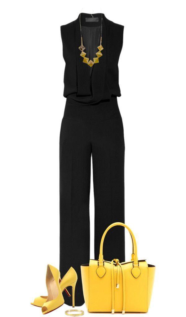 Macacão preto + bolsa amarela + sandália amarela + brinco e pulseira amarelo
