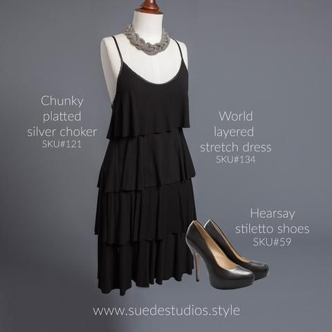 Suede Studios Style: World layered dress, chunky platted silver choker & Hearsay stiletto shoes.