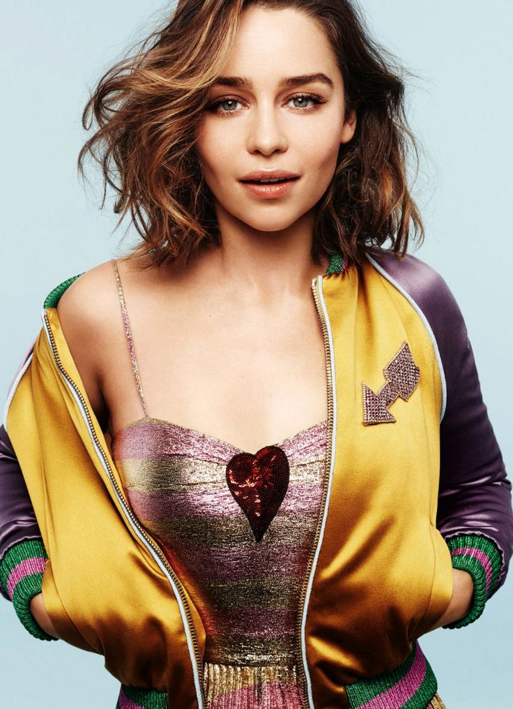 Emilia Clarke's baseball jacket colour contrast