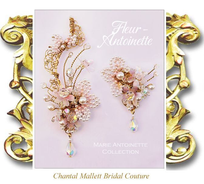FLEUR-ANTOINETTE: Gold clip ons with ivory pearls & Swarovski crystal, tinted with peachy/pinks. The right earring extends up the curve of the ear. Turn them into shoulder dusters by clipping on the matching earring extenders. Hand made to order. Other colours available.