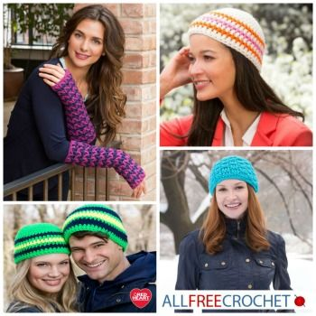 Crochet hat patterns for winter, all made using @redheartyarns Heads Up Yarn!