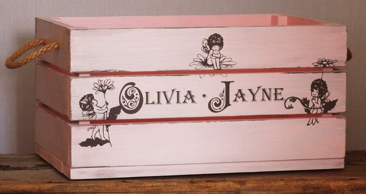 Pink wooden fruit crate, Unique Gift, French Vintage style box, shabby chic crate hand painted,custom made, toy box, christening gift by MikesFineDesigns on Etsy