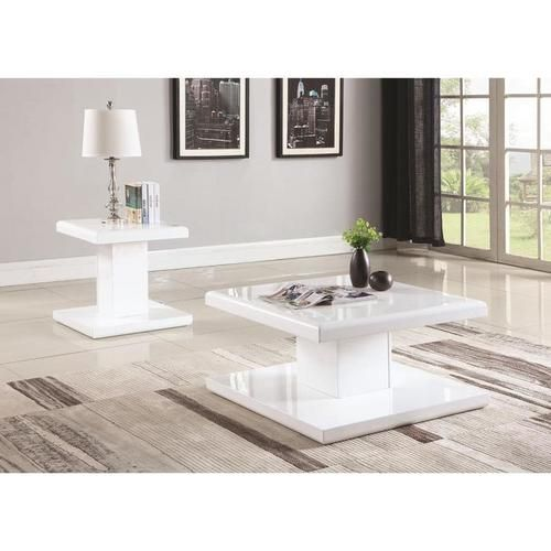 2 PC Glossy White Modern Coffee Table U0026 End Table Set With Swiveling Tops  721098