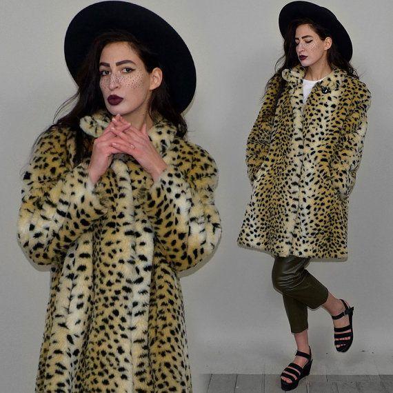 Lince de piel del Faux de la felpa leopardo Vintage vestido trapecio Punk manta capucha cabo Londres