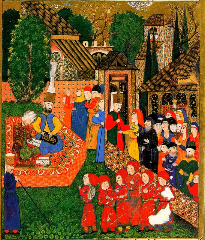 Registration of boys for the devşirme. Ottoman miniature painting from the Süleymanname, 1558 - They began as an elite corps of slaves recruited from young Christian boys, and became famed for internal cohesion cemented by strict discipline and order. By 1620 they were hereditary and corrupt and an impediment to reform.[4] The corps was abolished by Sultan Mahmud II in 1826 in the Auspicious Incident in which 6,000 or more were executed