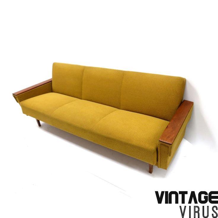 Vintage gele bank / slaapbank