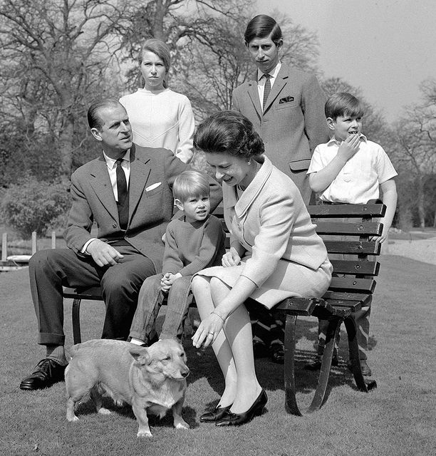 The Royal Family in the gardens of Frogmore House in 1968 by The British Monarchy, via Flickr-Left to right: The Duke of Edinburgh, Princess Anne, Prince Edward, The Queen, Prince Charles and Prince Andrew. © Press Association