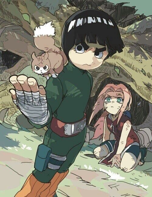 Rock Lee protegendo a Sakura