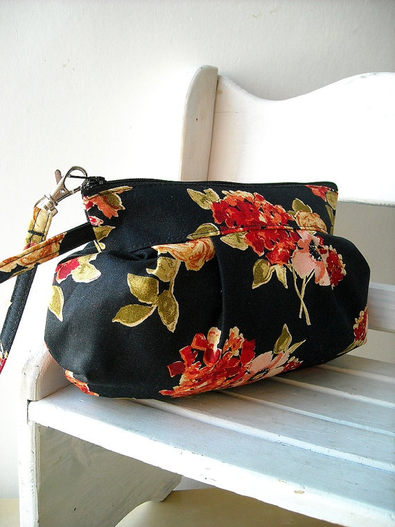 Flower in Black  Zipper Pouch with Clip by charmdesign on Etsy, $25.00