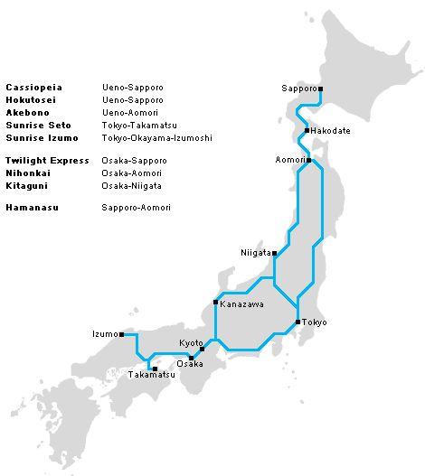 Night train in Japan: Tokyo -> Sapporo (Hokkaido)  (Idea from Monocle Magazine's Japan travel guide)