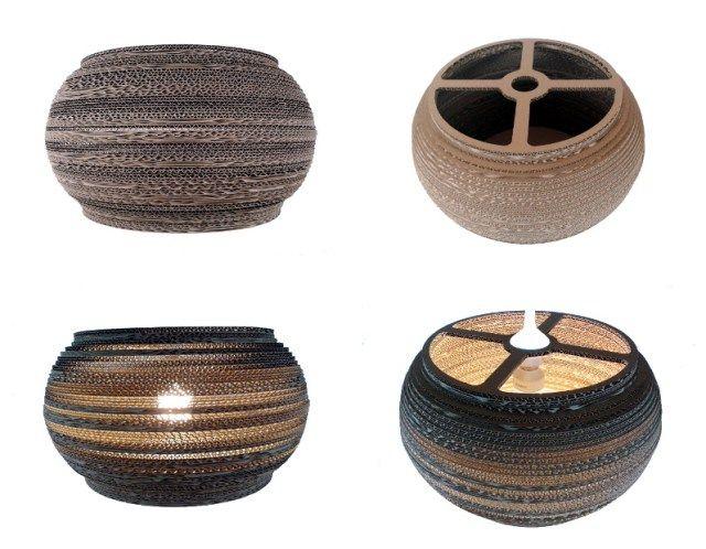 RIM 40 - LAMPA Z KAROTNU / Nazwa: RIM 40 / Średnica: 40 cm / Wysokość: 21 cm /Dolny otwór: 28 cm / cardboard lamp; #light #interior #home #design #homedesign #cardboard