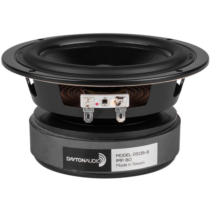 "Dayton Audio DS135-8 5"" Designer Series Woofer Speaker. Cosmetic frame with low profile lip, designed for front mounting-no countersinking required!. Coated paper cone, half roll rubber surround for durability and accurate reproduction. Optimized to yield a low 3 dB down point and high potential output in a reasonably sized cabinet. Smooth frequency response and linear roll-off simplify filter design, guaranteeing good results with off-the-shelf crossovers. Vented pole piece for minimized..."