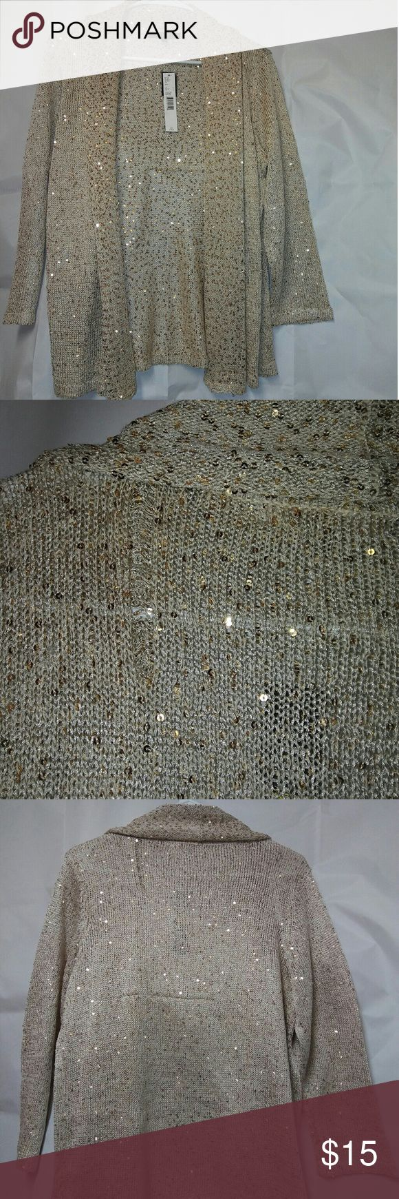 Gold Sequin Cardigan Alex Marie NWT Gold Sequin Cardigan Alex Marie NWT.  Please see pictures.  On the back it looks like some thread pulled.  It's very beautiful and the sequin makes it look really fancy. Alex Marie Sweaters Cardigans