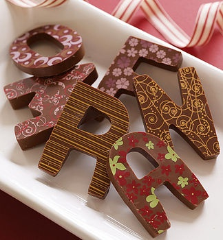 pretty chocolate initials!