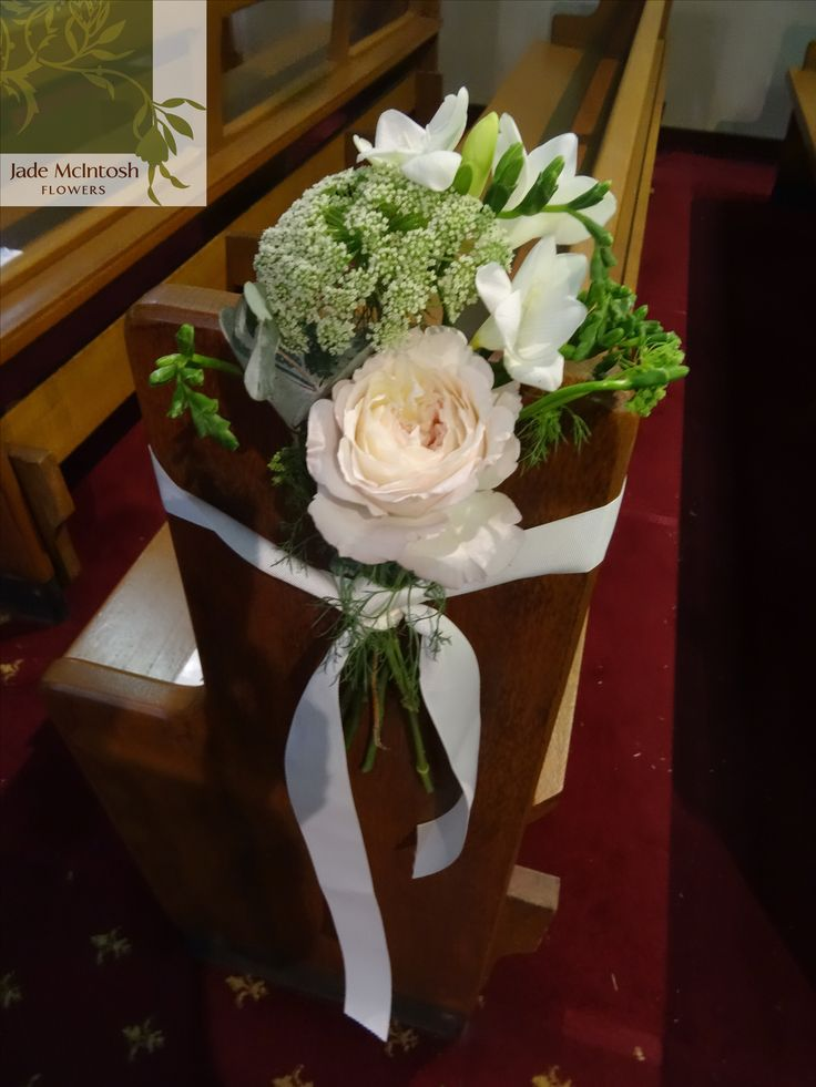 Queen Anne's Lace, white freesia and the palest pink rose, tied with white satin ribbon. Gorgeous! www.jademcintoshflowers.com.au