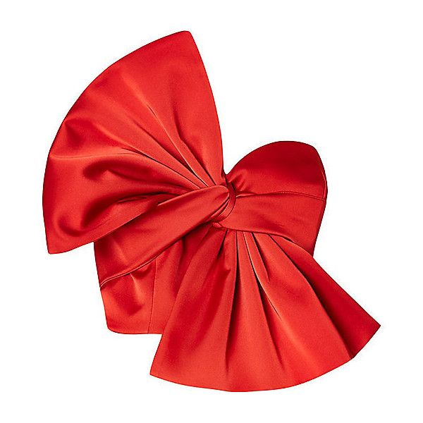 Red oversized bow bandeau satin crop top (1.048.480 VND) ❤ liked on Polyvore featuring tops, red crop top, cut-out crop tops, red satin top, satin top and tall tops