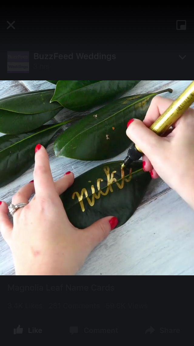 Gold leaf name cards