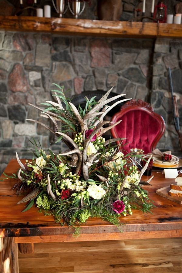 Antler Wedding Flowers Rustic English Hunting Wedding Ideas http://www.kristinalynnphoto.com/ #colorado #weddings
