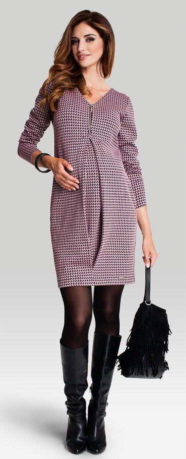 Одежда для беременных, Koko платье с V-образным вырезом декольте из ткани в узор гусиная лапка