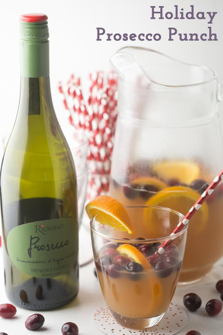 Full of festive flavors, this holiday Prosecco punch with Riondo Prosecco is the perfect bubbly drink for a pre-shopping holiday brunch! #sponsored #RiondoProsecco #RiondoCocktails #HolidayCocktails #cocktails | recipe from Chattavore.com