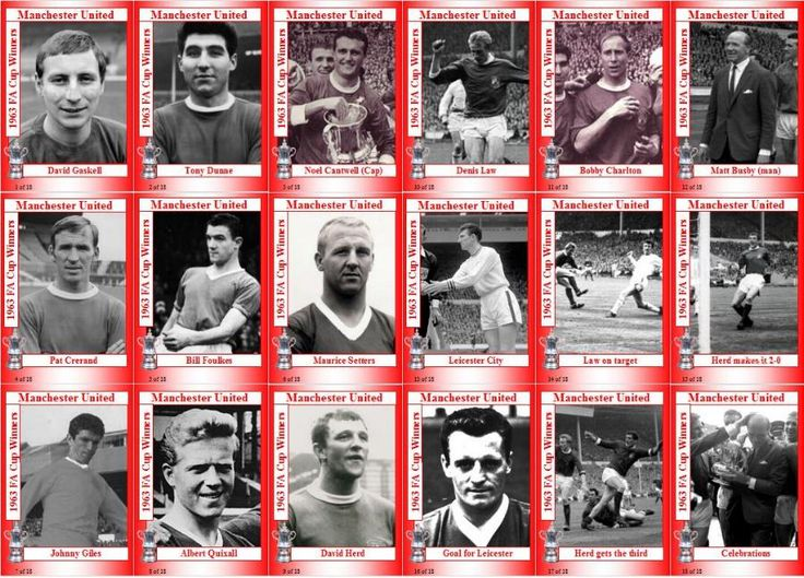 Man Utd team stickers for the 1963 FA Cup Final.