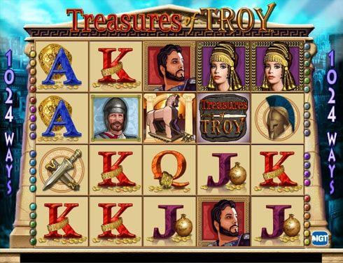 Играть в казино Вулкан на автомате Treasures of Troy.  Разработчик IGT предлагает играть в казино Вулкан на реальные деньги и насладиться приключениями в древнем городе Троя. На автомате Treasures of Troy можно играть увлекательно и прибыльно, этому способствуют многочисленные
